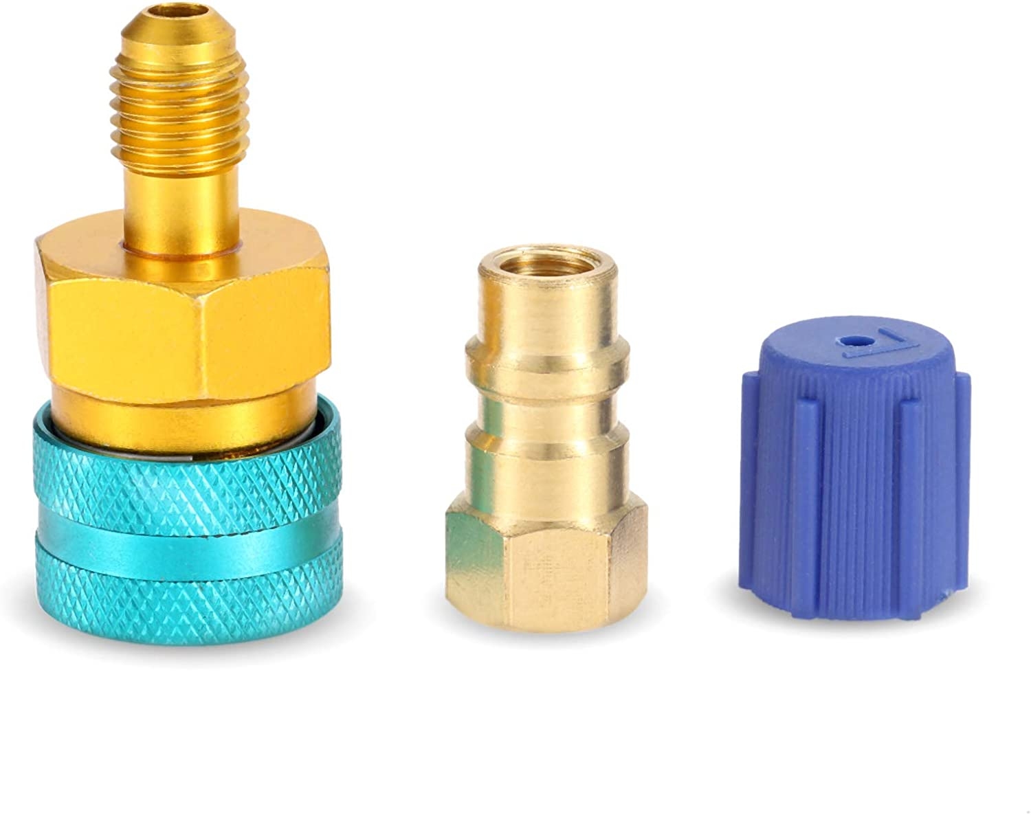 R12 to R134A Low Side Quick Coupler Fitting Connector for Car Air-Conditioning AC Charging Aupoko R1234YF to R134A Hose Adapter