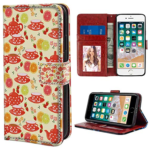 Modern Teapots and Cup with Polka Dots Lime Orange and Strawberry Fruits Cute Display Yellow Scarlet Design Leather Wallet Case Fit Apple iPhone 7, iPhone 8 4.7 Version Protective Case