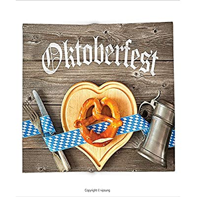 Custom printed Throw Blanket with Oktoberfest Decorations Collection Oktoberfest Beer Festival Cutlery Ribbon and Cutting Board on Restaurant Table Blue Gray Super soft and Cozy Fleece Blanket