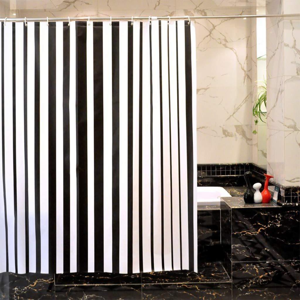 HHMMG Salle de Bains Polyester Noir et Blanc rayé imperméable à la moisissure Rideau de Salle de Bains