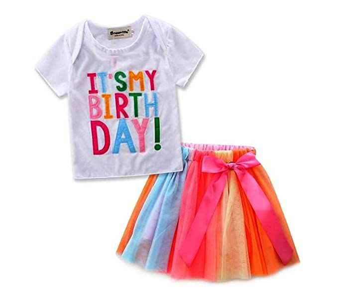 040f47cc5 Esclusivo Girl's It's My Birthday Print Dress T-Shirt and Skirt Set (2 Years