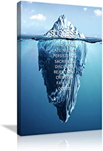Success Inspirational Iceberg Posters Motivational Canvas Wall Art Inspiring Quotes Painting Modern Success Hard Work Posters Prints Artwork for Home Bedroom Living Room Office Framed Ready to Hang