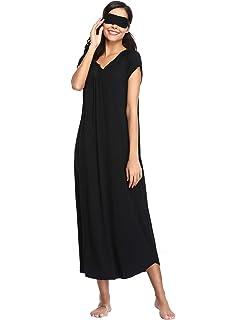 7f04f261b66e8b Lusofie Nachthemden für Damen Lange&Kurze Ärmel Nachtkleid Weiches Knit  Voller Länge Nachtwäsche