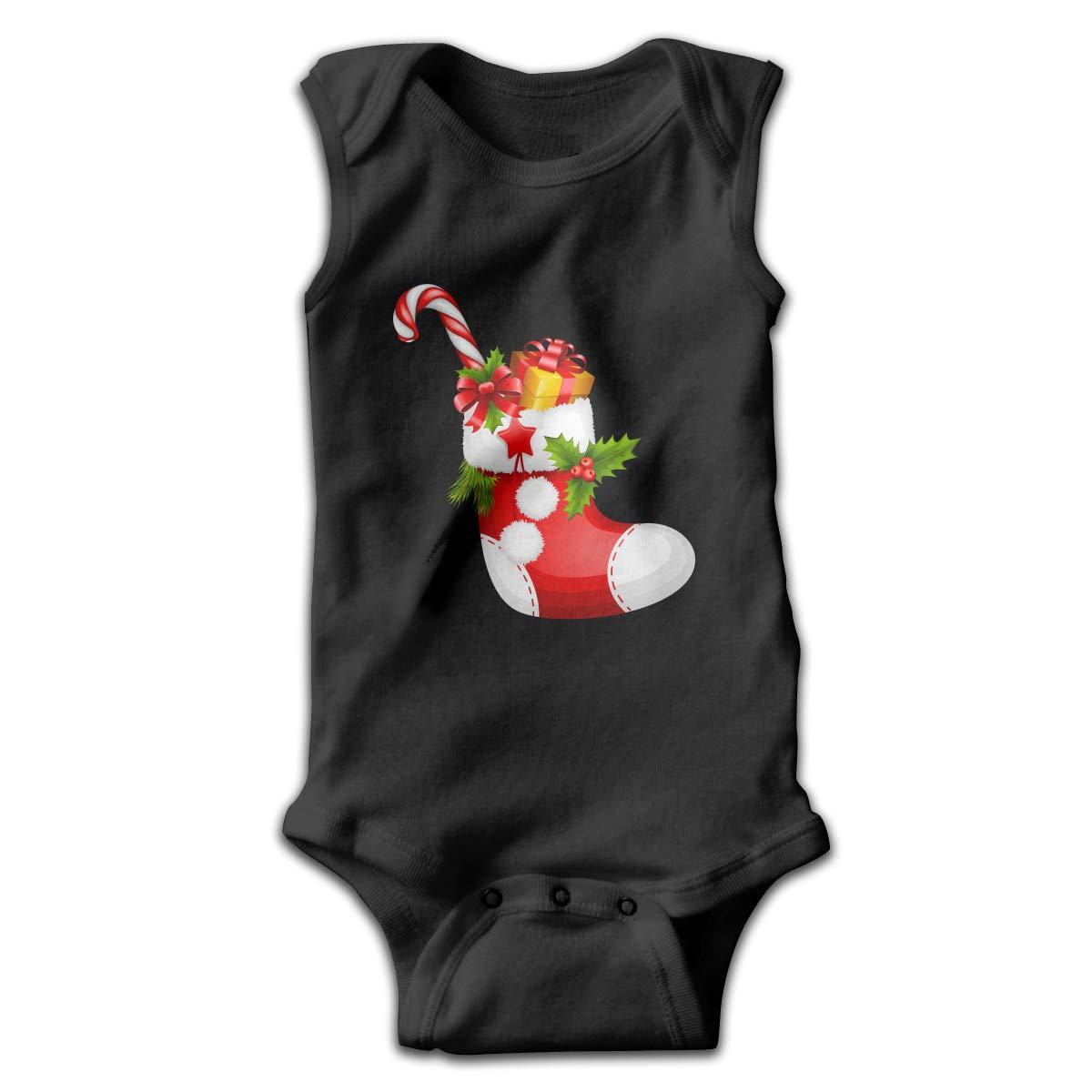 Efbj Toddler Baby Boys Rompers Sleeveless Cotton Jumpsuit,Christmas Stocking with Candy Bodysuit Autumn Pajamas