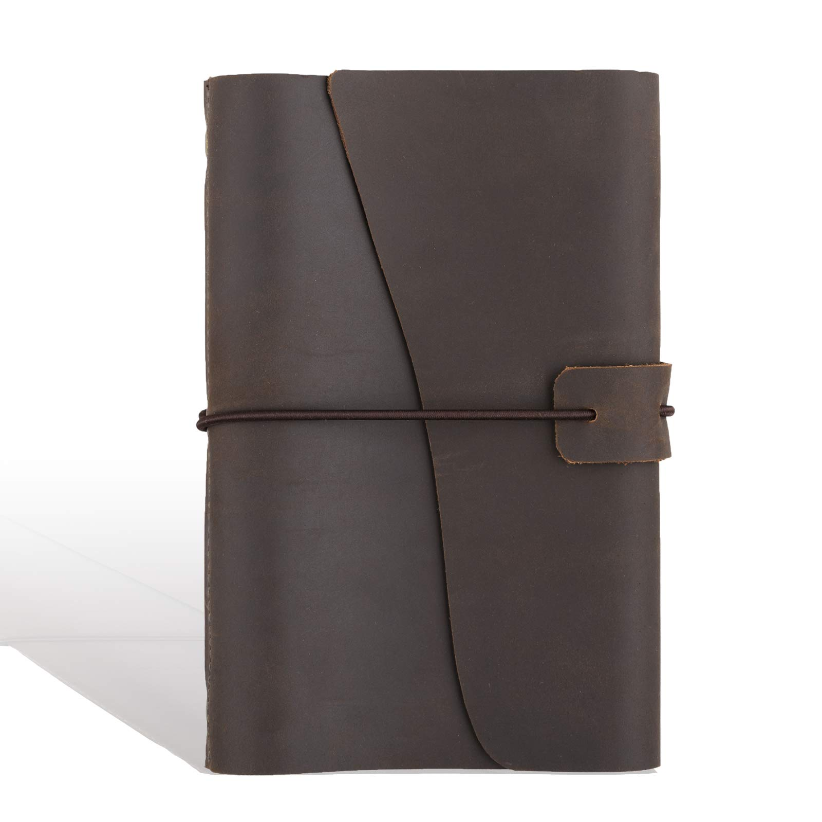 Leather Journal Refillable Notebook, with Pen Loop Writing Bound Diary Book for Men Women, Unlined Paper Handmade Genuine Leather, 160 Pages 7 x 5''