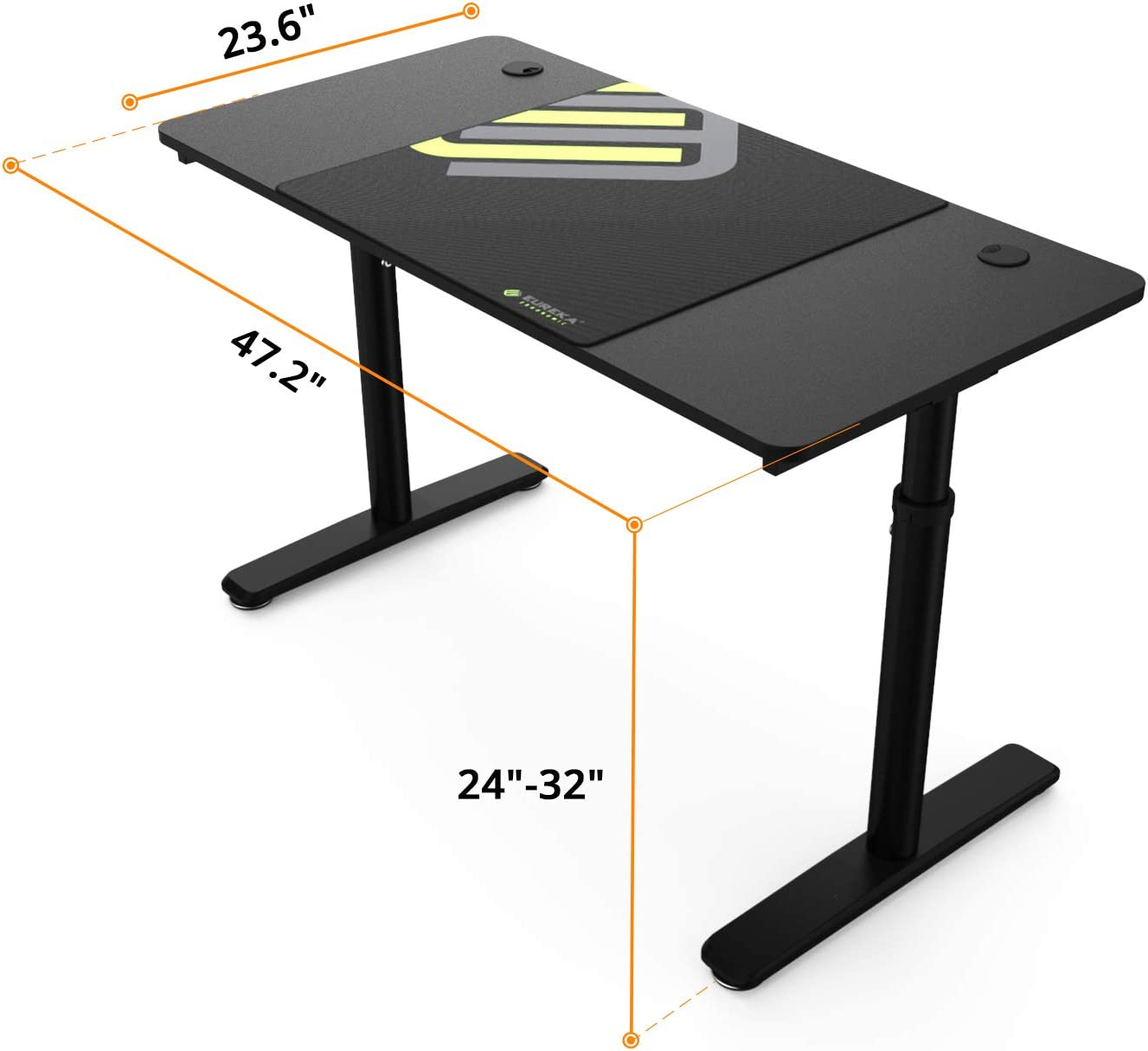 Study Writing PC Laptop Table Workstation 60 Inch with Free Large Mousepad DESIGNA Height Adjustable Computer Desk Widen Space Office Home Gaming Desk Multi-Functional Black