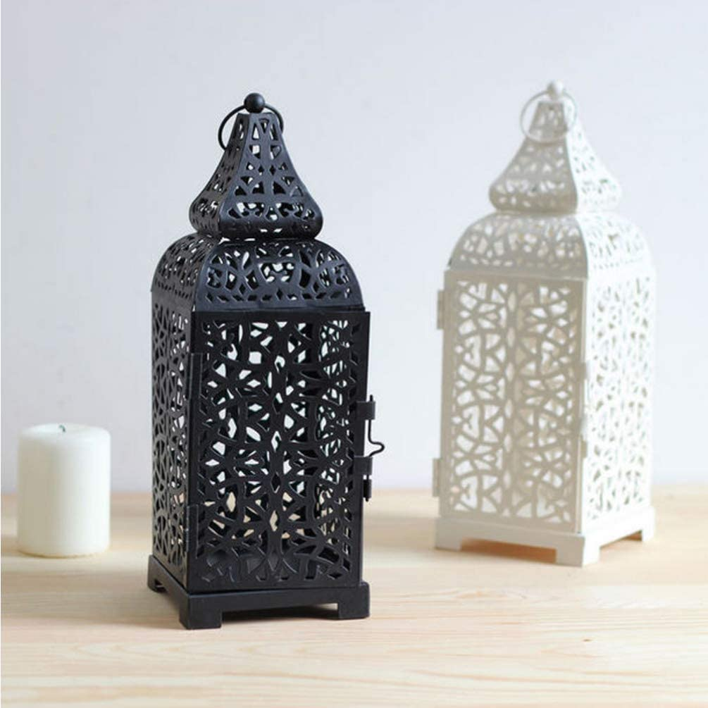 Uonlytech Morocco Wrought Iron Candlestick Retro Hollow Decorative Candle Holders Morocco Candle Lantern for Home White