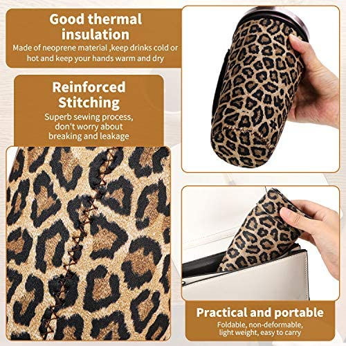 3 Pieces Reusable Iced Coffee Cup Sleeve Neoprene Cup Insulator Sleeve Cup Cover Holders Insulated Sleeves Drinks Sleeves for 30 oz. Cold Hot Beverages, 3 Styles