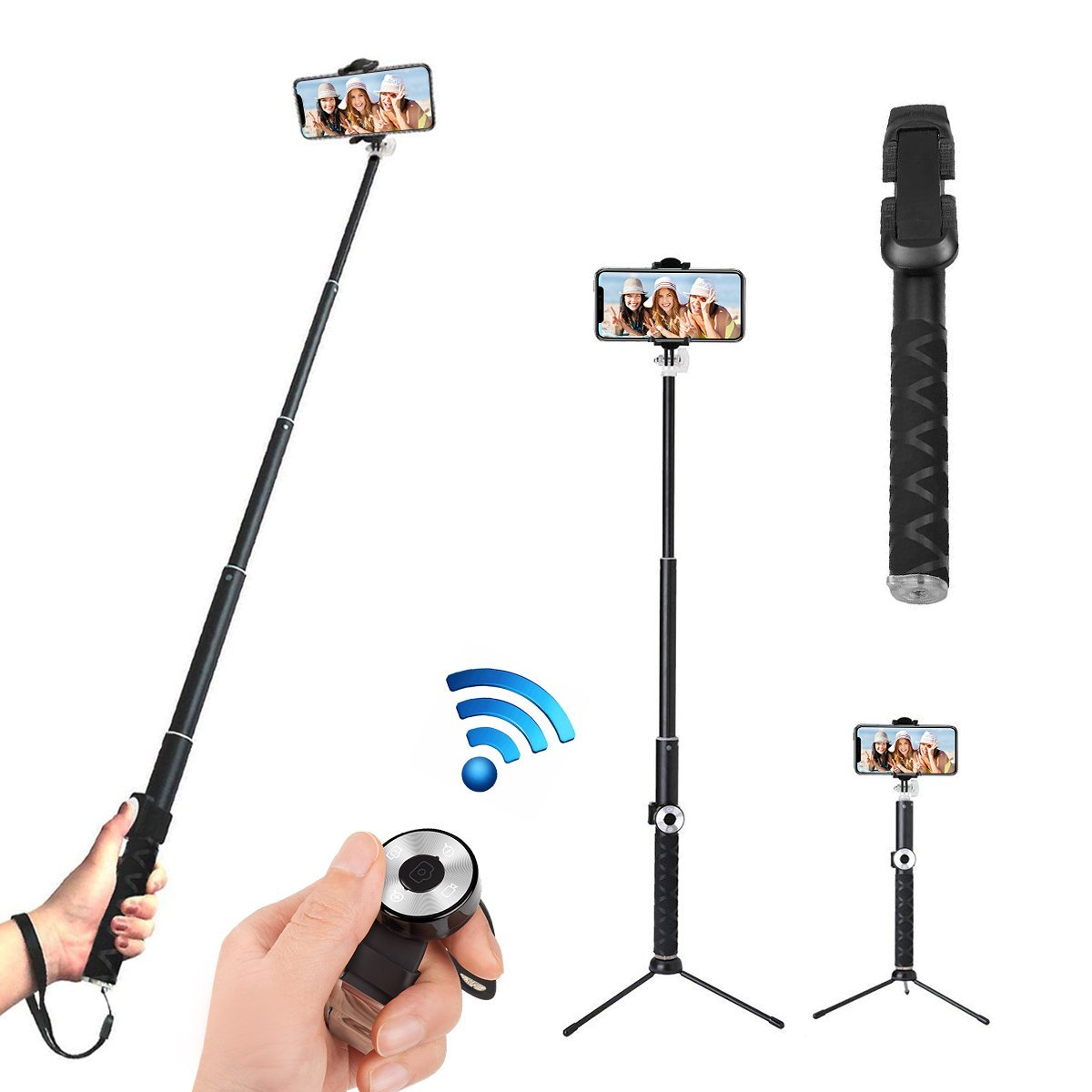 Selfie Stick Bluetooth, Roogeld Wireless Selfie Stick Tripod Rotation Extendable 32.67''Monopod Aluminum with Bluetooth Remote Shutter for iPhone X/8/8P/7/7P, GoPro,Samsung Galaxy, Google, Huawei