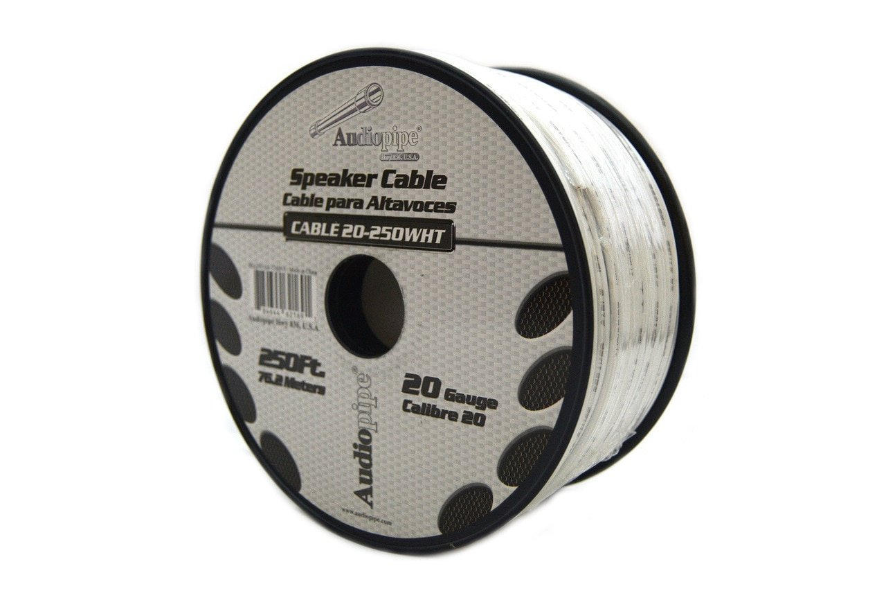 Speaker Wire 20 GA White Stranded Copper Clad 250 Feet Home Audio Surround Sound