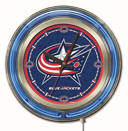 Columbus Blue Jackets HBS Neon Blue Hockey Battery Powered Wall Clock - Jackets Blue Clock Columbus