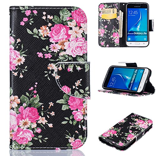 Price comparison product image Galaxy J1 2016/J120 Case, Firefish [Card Slots] Kickstand Synthetic Leather Flip Folio Wallet Magnetic Clip Scratch Proof Durable Protect Cover for Samsung Galaxy J120 2016 -Flower-A