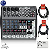 micro mixer with phantom power - Behringer XENYX 1202FX - 12 Channel Audio Mixer with Effects Processor + 1 x 20ft Structure XLR Cable + 1 x 18.6 ft Strukture Instrument Cable + K&M Micro Fiber Cloth Bundle