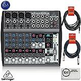 Behringer XENYX 1202FX - 12 Channel Audio Mixer with Effects Processor + 1 x 20ft Structure XLR Cable + 1 x 18.6 ft Strukture Instrument Cable + K&M Micro Fiber Cloth Bundle