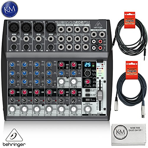 Behringer XENYX 1202FX - 12 Channel Audio Mixer with Effects Processor + 1 x 20ft Structure XLR Cable + 1 x 18.6 ft Strukture Instrument Cable + K&M Micro Fiber Cloth Bundle by K&M
