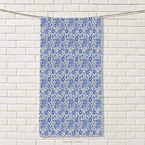 Wholesale Flower Dutch (smallbeefly Dutch Travel Towel Delft Style Flowers in Doodle Style Abstract Petals Leaves Butterflies 100% Microfiber Violet Blue and White Size: W 27.5