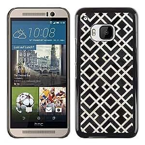 Paccase / SLIM PC / Aliminium Casa Carcasa Funda Case Cover para - Pattern White Black Vintage Wallpaper - HTC One M9