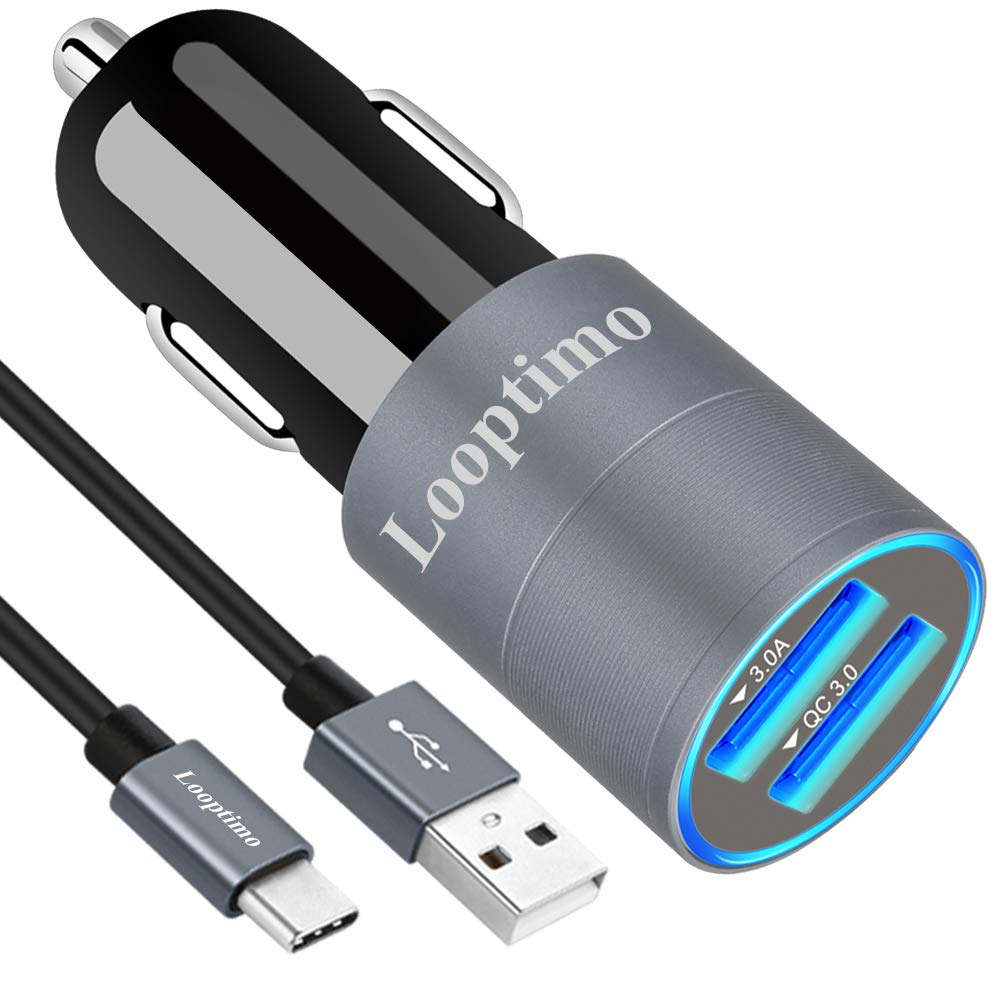Fast USB C Car Charger-Compatible for Samsung Galaxy S10 Plus //S10e//S10//S9//S9 Plus//S8//S8 Plus//Note10//Note9//8,36W//6A Dual USB Ports Quick Charge 3.0 Fast Chargering Car Adapter,with 3.3ft Type C Cable