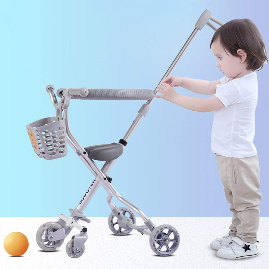 Baby Four-Wheeled Shatter-Resistant Lightweight Folding Children's Trolley Trend Adventure Travel System Range Aviation Aluminum Silver 6.3. (Color : Silver, Size : B) by Bbjinpin (Image #2)