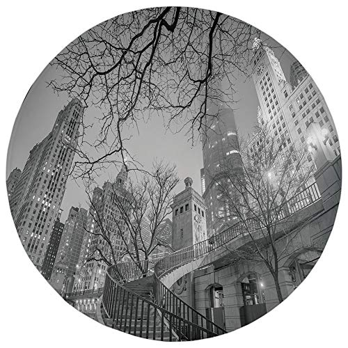 Round Rug Mat Carpet,Black and White Decorations,Chicago Downtown Night Highrise Buildings Tree Branches Decorative,Grey Black White,Flannel Microfiber Non-slip Soft Absorbent,for Kitchen Floor Bathro -