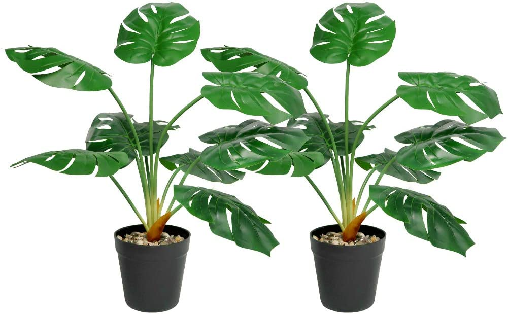 Auelife Artificial Monstera Deliciosa Plant 25inch Tall, Tropical Realistic Fake Potted Palm Plants Tree with 9 Leaves Indoor Décor for Home Office Decoration
