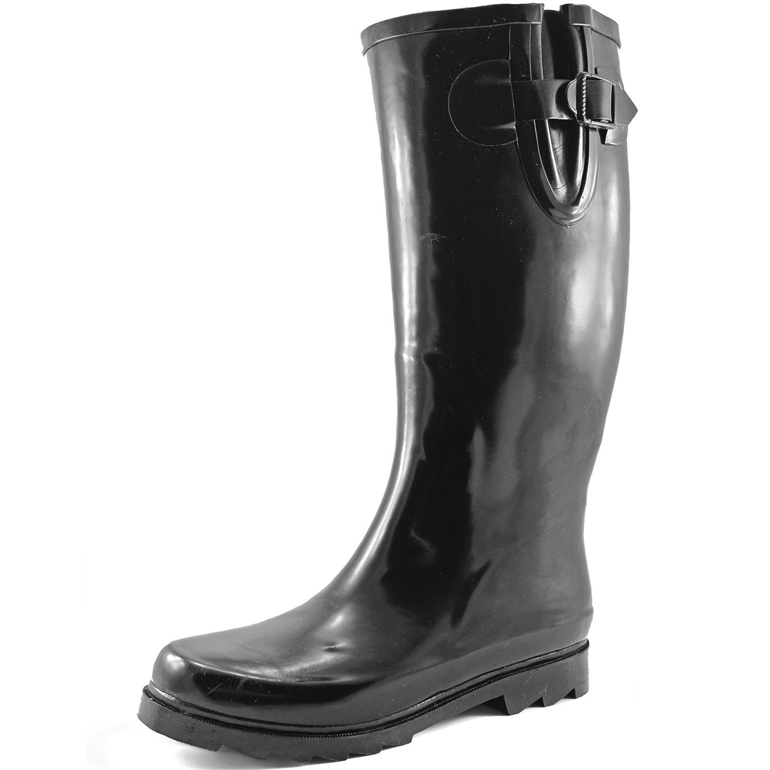 DailyShoes Women's Puddles Rain and Snow Boot Multi Color Mid Calf Knee High Rainboots,Black 9 B(M) US