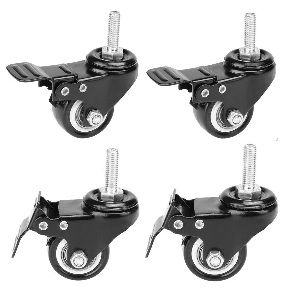 "4 Pack, WeFoonLo Locking 1.5"" Threaded Stem Mount Swivel Caster Rotation Polyurethane Castor Wheel and Brake for Trolley, Carts, Furniture, Dolly, Workbench (Threaded Stem: 8 x 25mm)"
