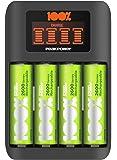 GP 100% PeakPower Cargador de Pilas AAA y AA Super Rapido 2-6 Horas - Incluye 4 Pilas Recargables AA de 2300 mAh…