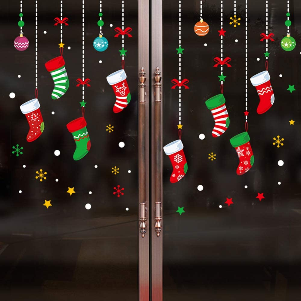 Arswin Christmas Window Decorations, Xmas Snowflake Santa Claus Reindeer Cling Stickers Winter Wonderland Decals Ornaments Party Supplies for Home Shop Glass Window Door Décor (Christmas Stockings)