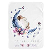 Baby Moon Monthly Milestone Blanket for Girl Boy/Large Baby Blankets for Girls and Boys Newborn Photography Premium Fleece Baby Monthly Blanket Shower Gifts (Moon, 40 X 50 inches)