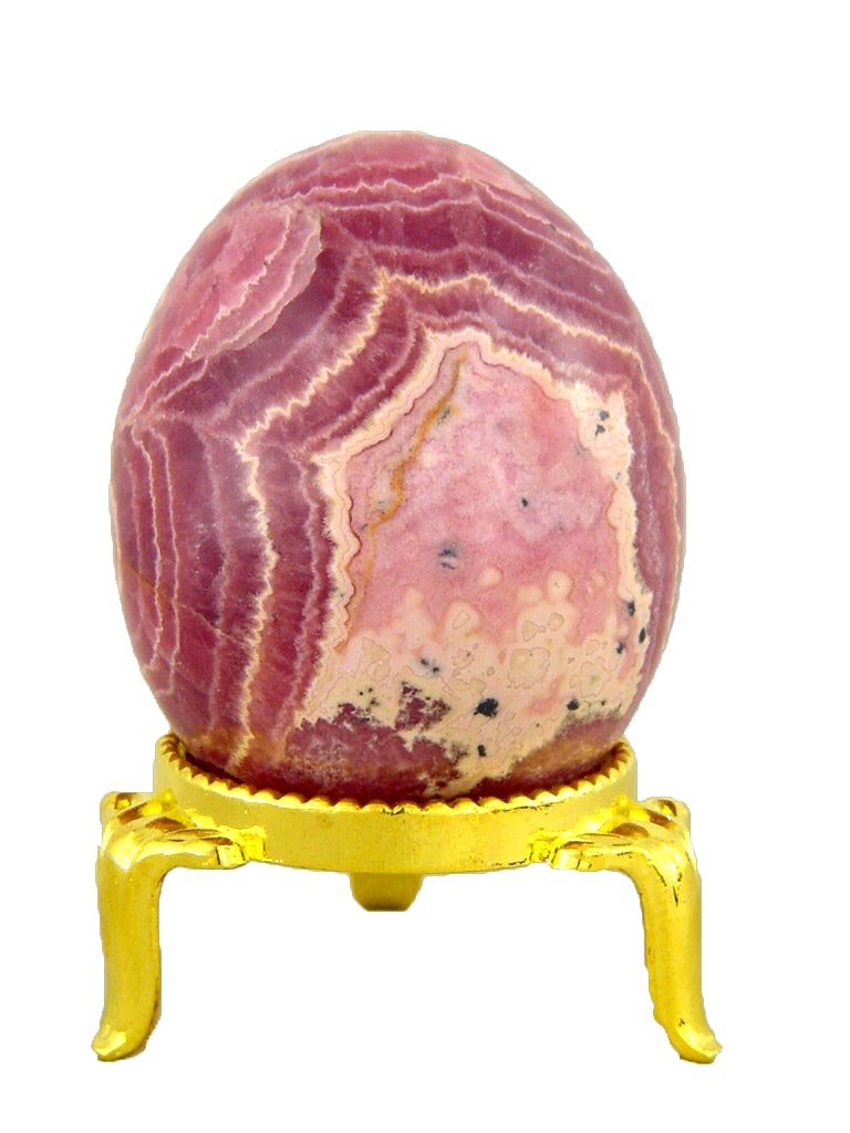 Rhodochrosite Stone Healing Egg 46mm x 37mm Reiki Activated Lapidary with Stand