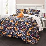 4pc Navy Blue Kids Animal Full Queen Quilt Set, Orange Grey Pink Frolicking Cute Fox Theme Bedding, Polyester, Lightweight Floral Geometric Medallion Flowers Birds Heart