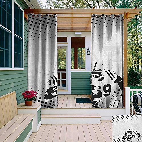 leinuoyi Sports, Outdoor Curtain Ends, American Football Character Running Passing Gridiron Goal Dotted Art Graphic Design, Outdoor Curtain Panels for Patio Waterproof W96 x L108 Inch Black White ()