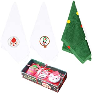 Christmas Hand Towels, 100% Cotton Kitchen Towels 12