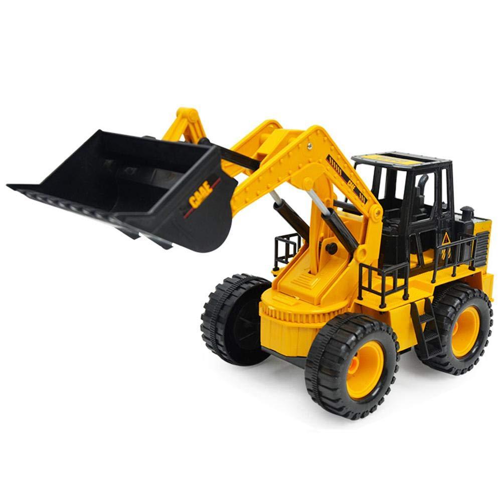 Househome 2.4GHz RC ferngesteuerter Bagger Baustellen-Fahrzeug, schwenkbarer Schaufel Radlader, Gelb
