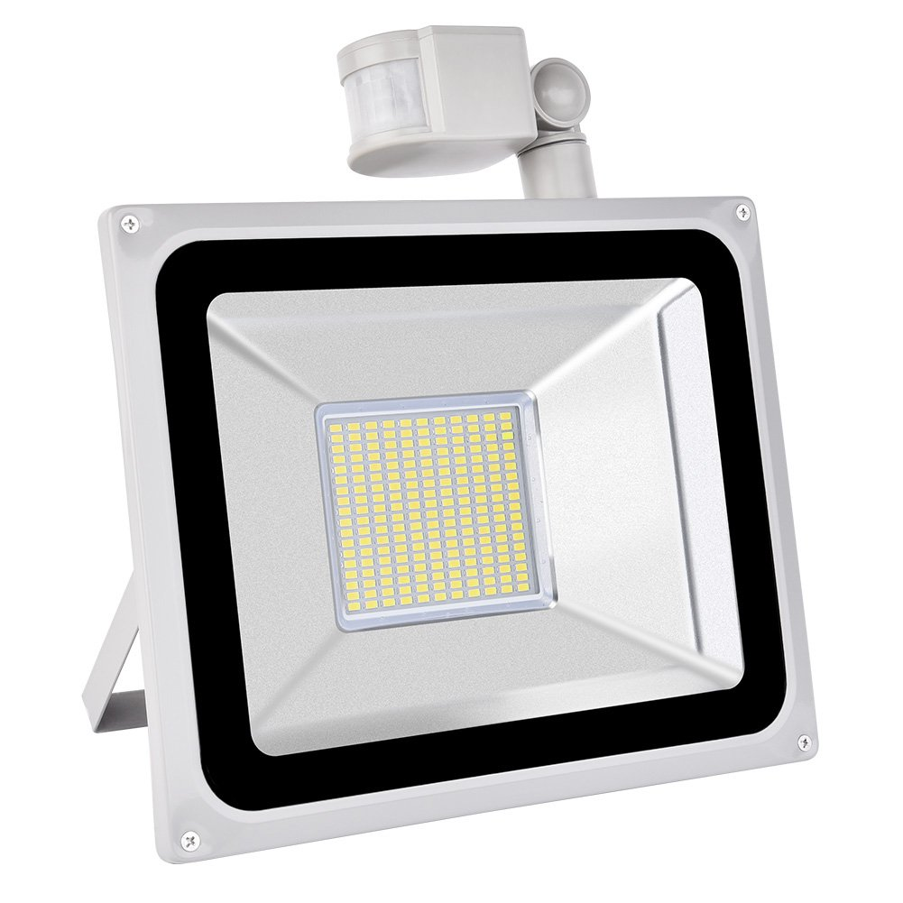 5 100W Coolkun LED Motion Sensor Flood Light Daylight White IP65 Outdoor and Indoor activities for Garden,Driveway, Garage,Pathway ect