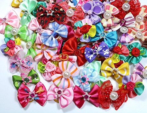 Cute Yorkie Hair Bows With Rhinestone Pearls Flowers