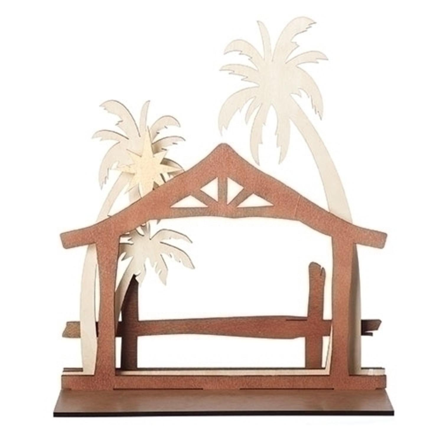 Roman 15'' Brown and Ivory Nativity Stable Scene Christmas Table Wood Cutout