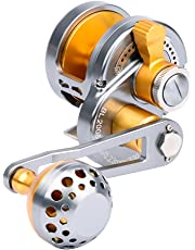 Trolling Reel Jig Fishing Reels Heavy Duty Sea Ocean Big Offshore Fishing Reel for Trout Bass Aluminum CNC Machined Max Drag Power 30lb&35lb&42lb&46lb