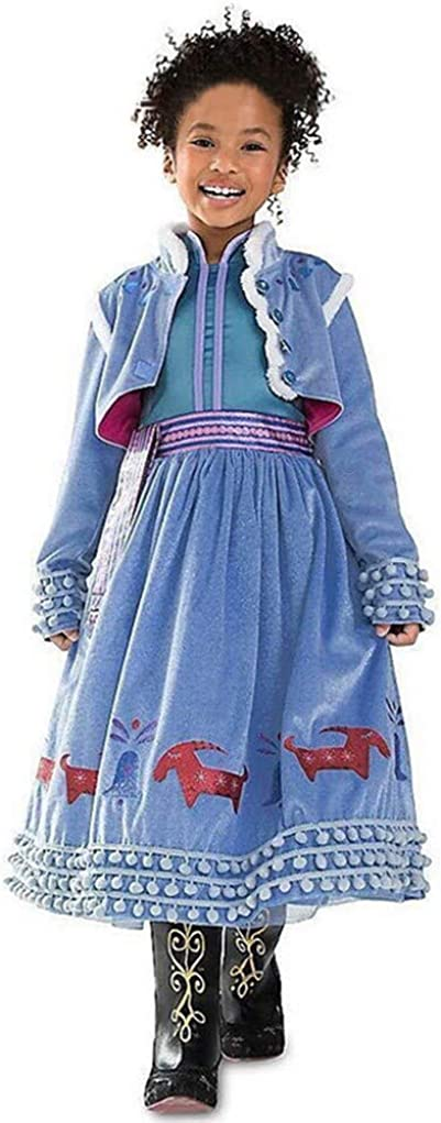 oobest Principessa Girls Blu Snow Elsa Queen Costume Cosplay Operato dal Partito Ragazze Abito da Sposa con la Disposizione della Pelliccia del Capo
