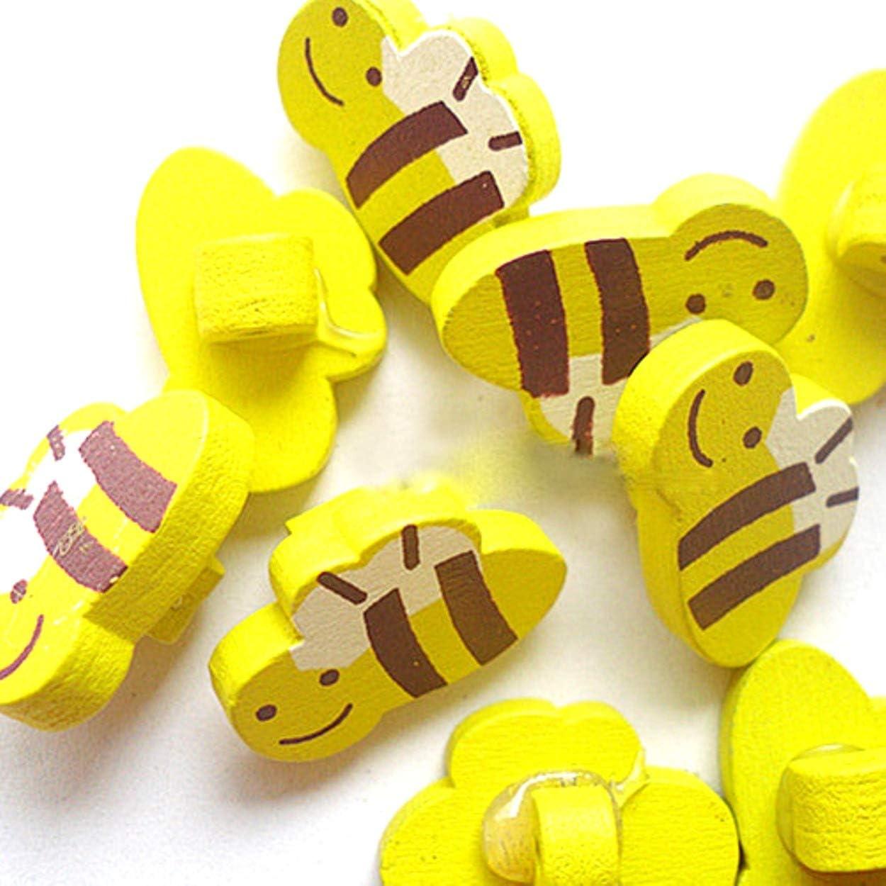 para Manualidades 50 Unidades 20 x 13 mm DIY Express Botones de Madera con Abejas Amarillas y Marrones