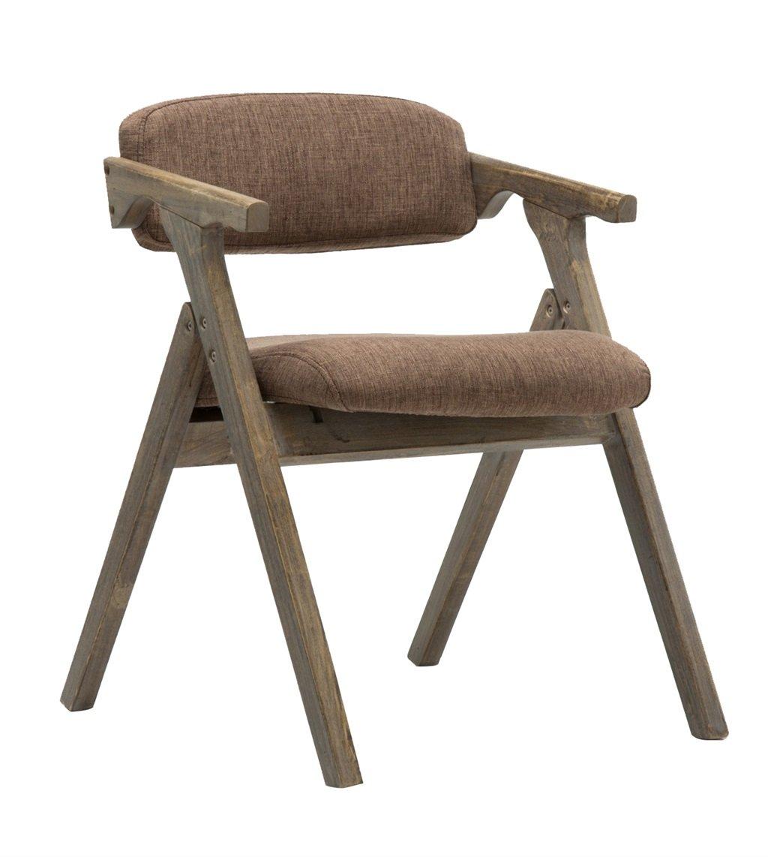 布製カバー付きソリッドウッドダイニングチェア背もたれとアームレスト付き折り畳み式椅子デスクチェアーとしてパッド入りアームチェアスツールラウンジシートビンテージレトロデザイン (色 : Brown Linen) B07F8L4Q3D Brown Linen Brown Linen