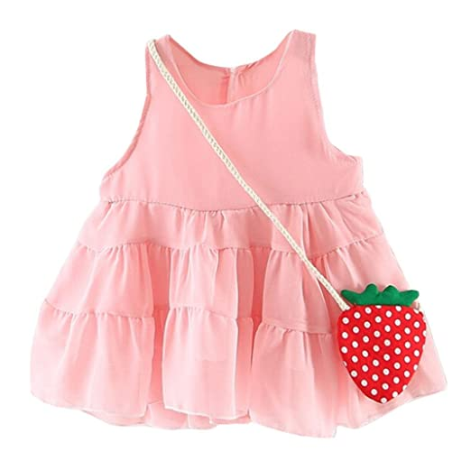 b0a749c953 Sagton® 2pcs Toddler Kids Baby Girls Dress Cotton Sundress + Strawberry  Style Bag Outfits Clothes