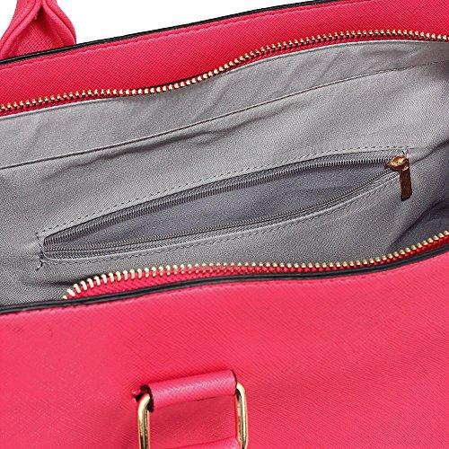 ANNA GRACE - Bolso de tela de piel sintética para mujer fucsia