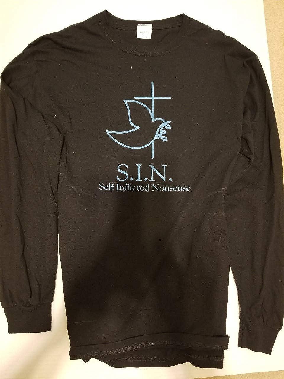 Black Long Sleeve T-Shirt Black Blue Letters Medium