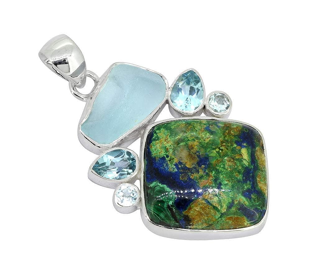 YoTreasure 1 3//4 Azurite Malachite Rough Blue Topaz Solid Sterling Silver Chain Pendant