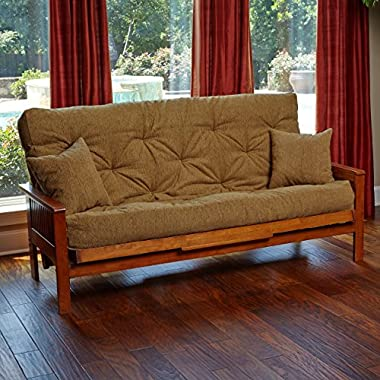 Memory Foam Futon Mattress Beige Upholstery Fabric With 2 Matching Pillows (Queen, Cancun Maple) Made in the USA