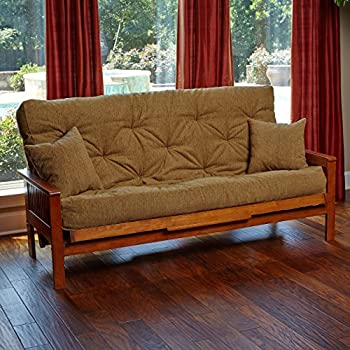 memory foam futon mattress beige upholstery fabric with 2 matching pillows full cancun maplemade in the usa