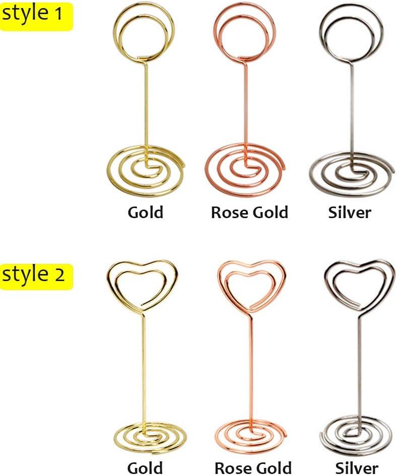 style1-size1,rose gold 1pc V/êtement populaire D/écoration de bureau Or de rose Articles de mariage Support de serrage Support de table Carte place Photomontage