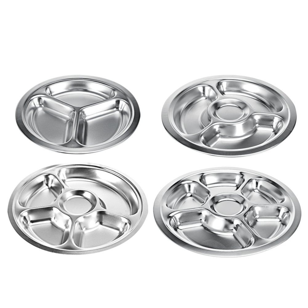 Stainless Steel Round Divided Dinner Plate BPA Free Kids Plates Serving Tray Food Platter for Kids and Toddlers, 3 sections Fulstarshop